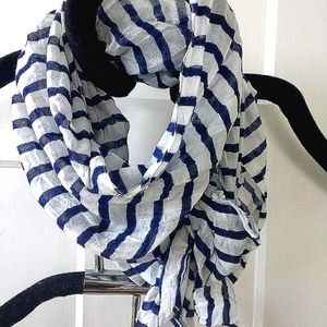 Nautical Blue And White Stripe Oblong Scarf